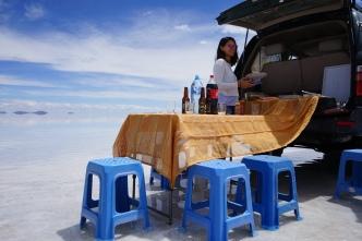déjeuner - Salar d'Uyuni, Bolivie